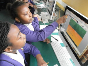 KS2 children creating presentations